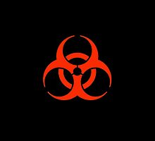 Bio hazard, symbol, Biological hazard, WARNING, RED on black by TOM HILL - Designer