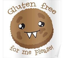 Gluten free for me please with cute kawai cookie monster Poster