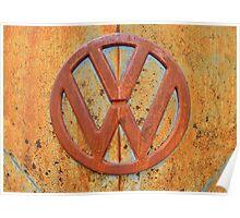 Vintage Rusty Volkswagen Bus Logo Poster