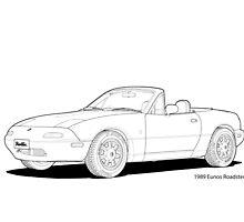 Eunos Roadster MK1 Line Illustration by DigitalCel