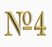NUMBER 4, in Gold, FOUR, FOURTH, Competition, TEAM SPORTS,  by TOM HILL - Designer