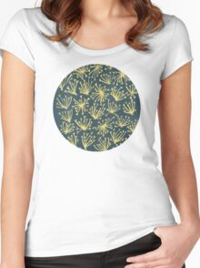 Queen Anne's Lace in Gold on Navy Women's Fitted Scoop T-Shirt