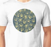 Queen Anne's Lace in Gold on Navy Unisex T-Shirt
