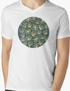 Queen Anne's Lace in Gold on Navy Mens V-Neck T-Shirt