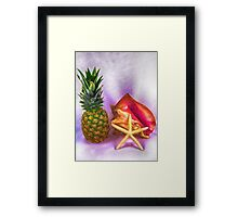 Pineapple With Seashells Still Life Framed Print