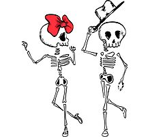 Skeletons in Love Photographic Print