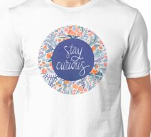 Stay Curious – Navy & Coral Unisex T-Shirt
