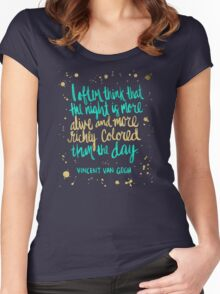 Night Owl on Navy Women's Fitted Scoop T-Shirt