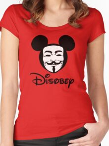 Disobey - Anonymous - Disney - Subversive Symbolism Women's Fitted Scoop T-Shirt