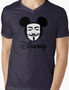 Disobey - Anonymous - Disney - Subversive Symbolism Mens V-Neck T-Shirt