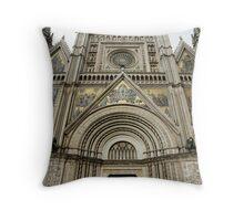Facade of the Orvieto Duomo Throw Pillow