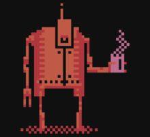 4color pixel art bot with coffee Kids Tee