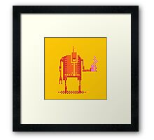 4color pixel art bot with coffee Framed Print