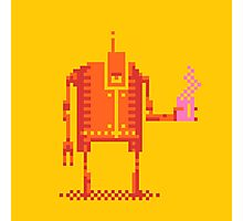 4color pixel art bot with coffee Photographic Print