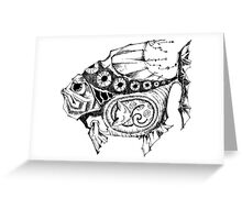 Hands painted portrait  magic fish with a kitten inside Greeting Card