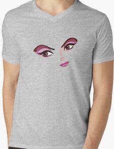 Stylized Female Face Mens V-Neck T-Shirt