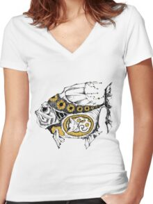magic fish with a kitten inside Women's Fitted V-Neck T-Shirt