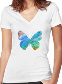 Watercolor Butterflies Women's Fitted V-Neck T-Shirt
