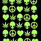 Peace, Love & Aliens On Weed by derP
