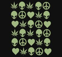 Peace Love'n Aliens On Weed by derP