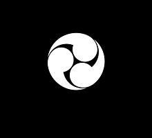 Tomoe, Japanese, Shinto symbol, Plain & Simple, White on Black by TOM HILL - Designer