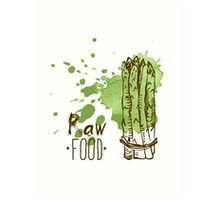 hand drawn vintage illustration of asparagus Art Print