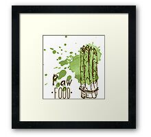 hand drawn vintage illustration of asparagus Framed Print