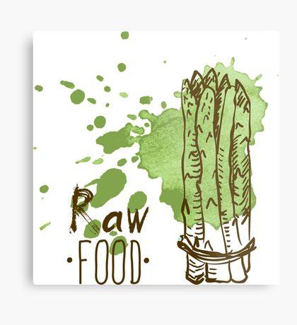 hand drawn vintage illustration of asparagus Metal Print
