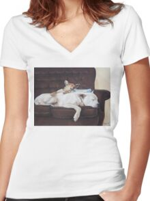 Cute puppy and white dog realist animal art  Women's Fitted V-Neck T-Shirt