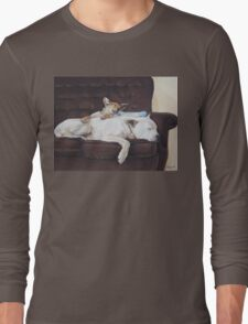 Cute puppy and white dog realist animal art  Long Sleeve T-Shirt