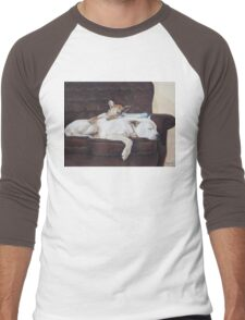 Cute puppy and white dog realist animal art  Men's Baseball ¾ T-Shirt