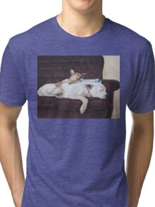 Cute puppy and white dog realist animal art  Tri-blend T-Shirt