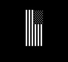American Flag, In Mourning, America, Americana, Stars & Stripes, White on Black, PORTRAIT, USA by TOM HILL - Designer