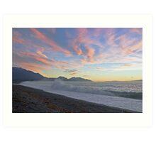 dawn surf, Kaikoura Peninsula , New Zealand   Art Print