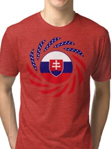 Slovakian American Multinational Patriot Flag Series Tri-blend T-Shirt