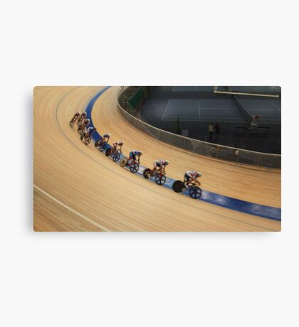 bicycle race at racetrack tilt  shot Canvas Print