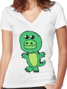 Cute Alligator Women's Fitted V-Neck T-Shirt