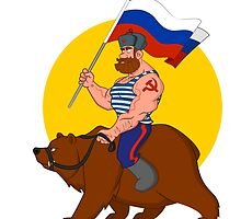 Russian riding a bear. by Evgenii Sidorov
