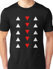 Triangles (white and red) Unisex T-Shirt