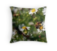 Flowers and Bee Macro Throw Pillow