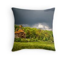 Ukrainian historical country wood church Throw Pillow