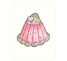 Cute pink jelly pudding Art Print