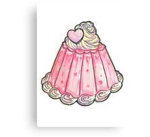 Cute pink jelly pudding Canvas Print