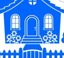 Cottage w/ Picket Fence (Blue design) Sticker