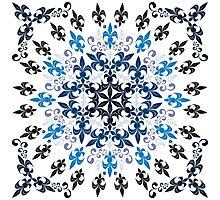 roue de lys (version bleu en blanc) Photographic Print