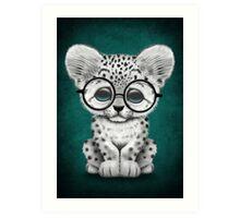 Cute Snow Leopard Cub Wearing Glasses on Teal Blue Art Print