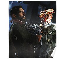 The Las of Us - Joel and a Clicker FIghting  Poster