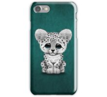Cute Baby Snow Leopard Cub on Teal Blue iPhone Case/Skin