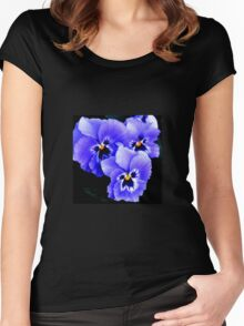 Blue Pansies in Lyme town gardens ,Dorset UK Women's Fitted Scoop T-Shirt