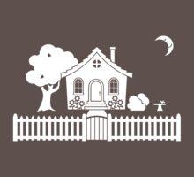 Cottage w/ Picket Fence (White design w/ moon) T-Shirt